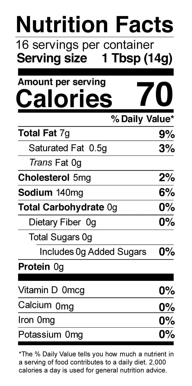 Terrapin Ridge Farms Jalapeno Aioli Garnishing Squeeze nutrition facts