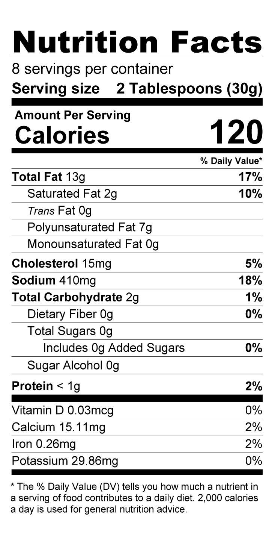 Terrapin Ridge Farms Creamy Garlic Mustard nutrition facts