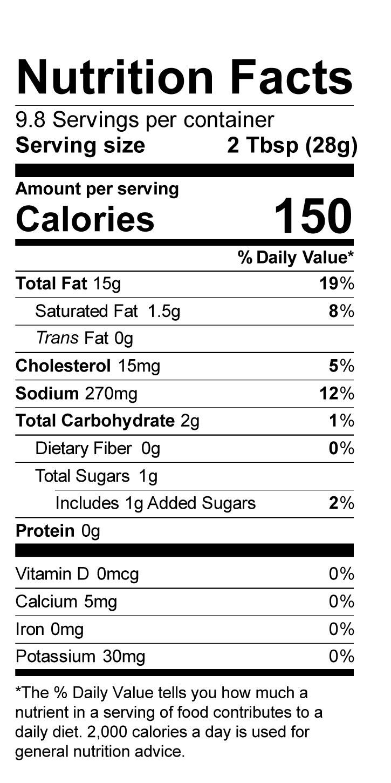 Terrapin Ridge Farms Creamy Chipotle Pepper Dip nutrition facts