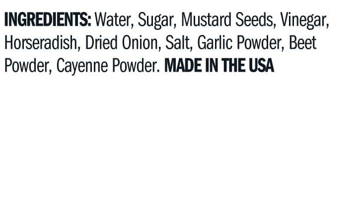 Terrapin Ridge Farms Sweet Beet and Horseradish Mustard ingredients