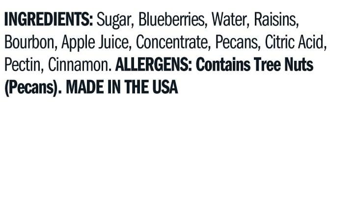 Terrapin Ridge Farms Blueberry Bourbon Pecan Jam ingredients