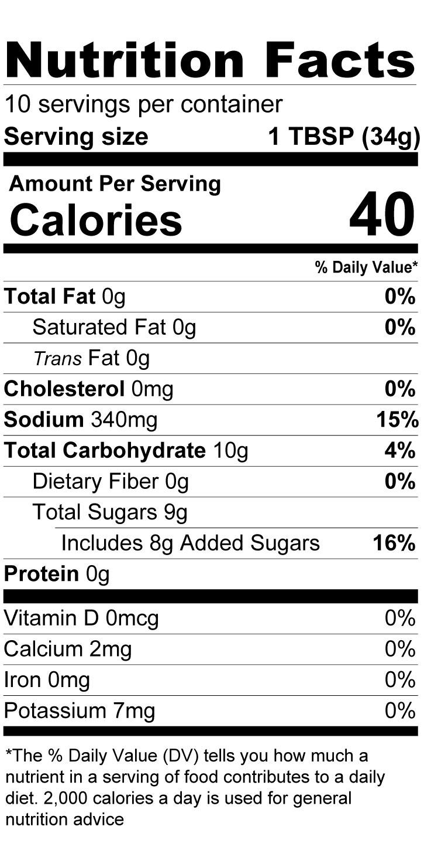 Terrapin Ridge Farms Apricot Ginger Teriyaki Glaze nutrition facts